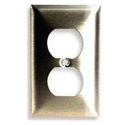Hubbell Duplex Standard Size 1-Gang Metallic Brass Wall Plate