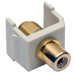 Hubbell Snap-Fit Coaxial RCA to F-Type Gold Pass-Through, Female/Female Module