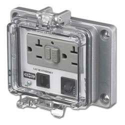 Hubbell Panel-Safe 20A 125V, GFCI with In-Cabinet Receptacle, Cat 5e Ethernet Access and 3A Circuit Breaker