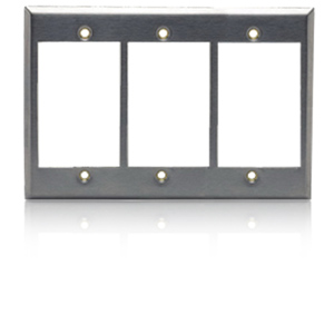 Hubbell iStation Three Gang Stainless Steel Plate Front Loading