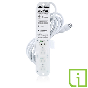 15 Amp Medical Grade Power Strip with Load Monitoring Inform™ Technology 4 Outlet 15' Cord