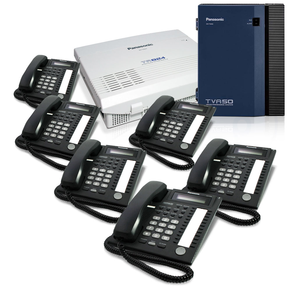 Panasonic KX-TA824 Phone System Bundle with (6) KX-T7731 Speakerphones and (1) KX-TVA50 Voicemail