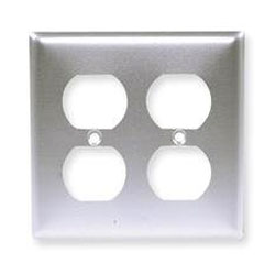 Hubbell 2-Gang Duplex Satin Stainless Wall Plate