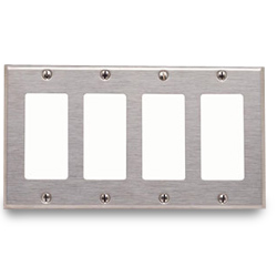 Leviton Stainless Steel 4 Gang Decora/GFCI Wallplate