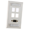 Single Gang Plastic Faceplate, for Four Keystone Jacks or Modules, Fog White (Package of 20)