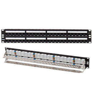 Allen Tel 48 Port Loaded 10Gb Cat 6A Patch Panel 1RU