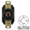 AC Receptacle NEMA L14-30 Female Black 125/250 Volt 30 Amp