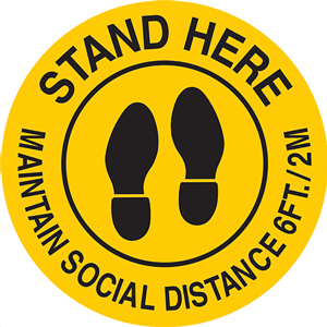 Maintain Social Distance 6ft - 2M Sign 17 in. Diameter