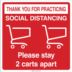 Please Stay 2 Carts Apart Social Distancing Floor Decal