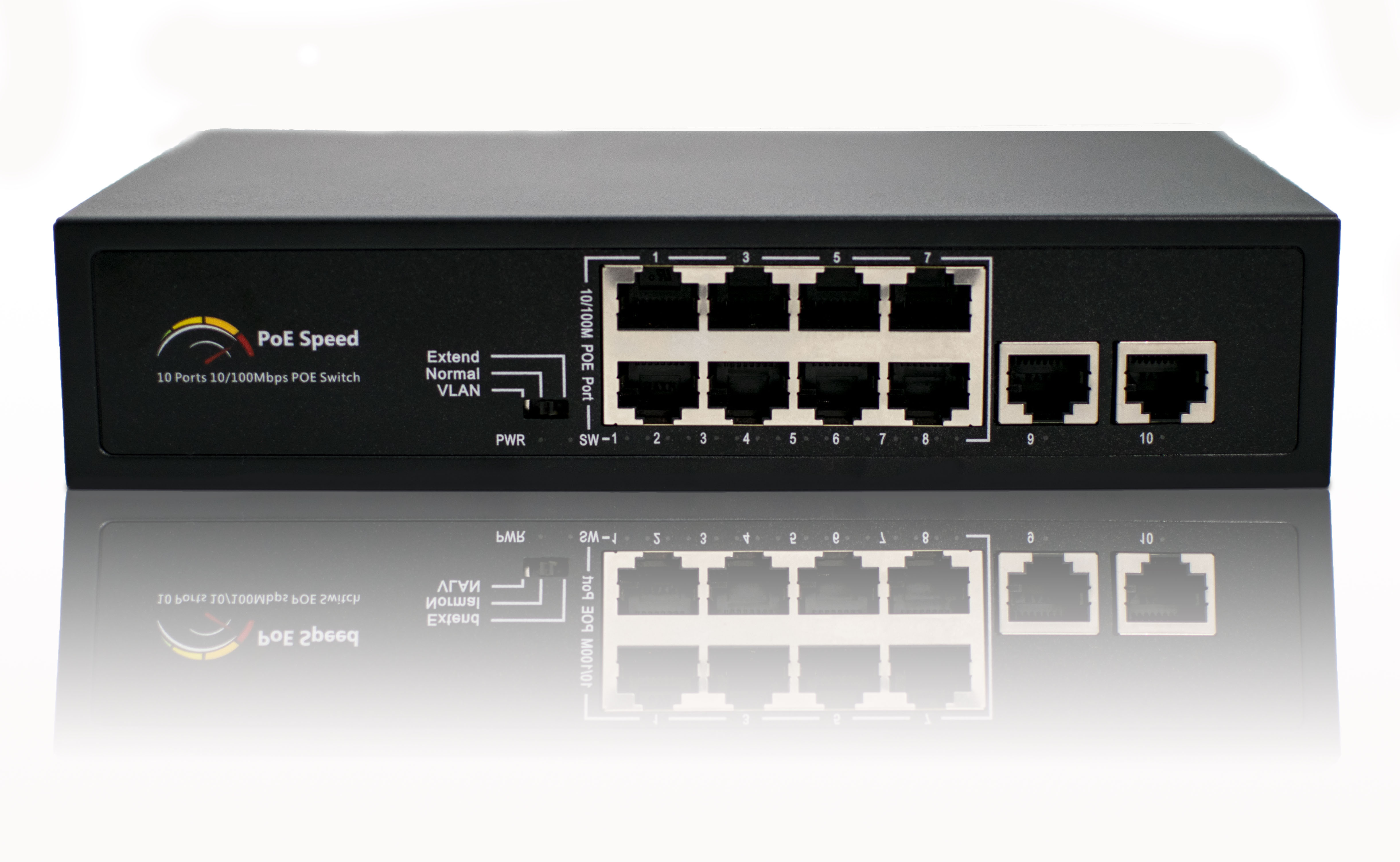 8-Port PoE switch with Two Ethernet Uplink Ports