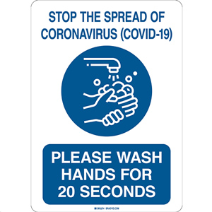 Please Wash Hands for 20 Seconds COVID-19 Sign