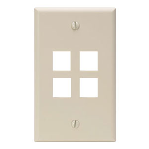 Single Gang QuickPort Wallplate 4 Port