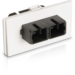 Bezel with Duplex Multimode/Singlemode SC Adapter, White