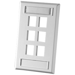 Legrand - Ortronics TechChoice 6 Port Single Gang Plastic Faceplate, Fog White