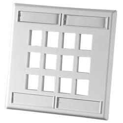 Legrand - Ortronics 12 Port Dual Gang Plastic Faceplate, Fog White