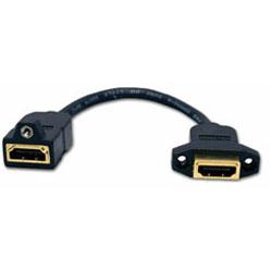 Hubbell AV Connector, HDMI 3 Inch Tail, Female/Female, Gold Coupler