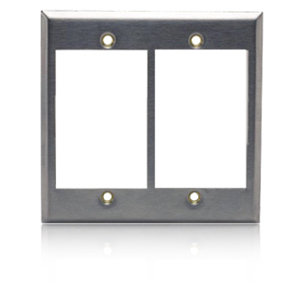 Hubbell iStation Two Gang Stainless Steel Plate Front Loading
