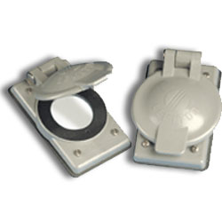 Leviton 3 Wire, 4 Wire, and 5-Wire Locking Flanged Inlet and Outlet Industrial Weather-Resistant Cover